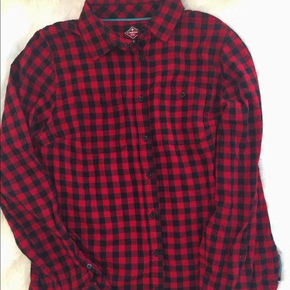 ST John's Bay red & black 💯cotton flannel shirt